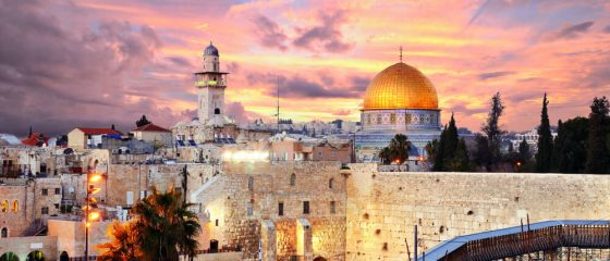 Skyline-of-the-Old-City-at-the-Western-Wall-and-Temple-Mount-in-Jerusalem-Israel.